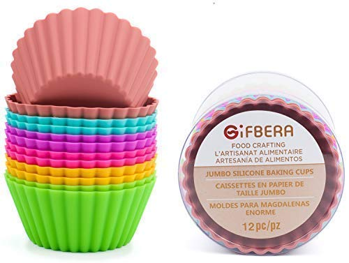 Gifbera Large Reusable Silicone Cupcake Baking Cups Jumbo Muffin Molds, 6 Colors, Pack of 12