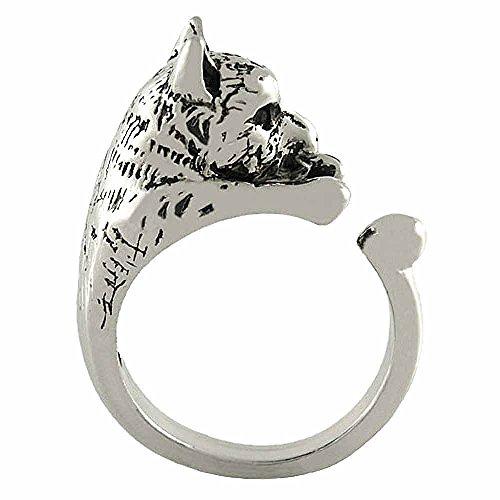 Ellenviva Enhanced Wolf Animal Wrap Ring White Gold-plated Shiny Silver Tone- Size 7 ()