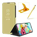Clear Window View Case for Galaxy A71,Bookstyle Mirror Flip Cover for Galaxy A71,Herzzer Luxury Noble Gold Mirror Effect Plated Metal Electroplate PU Leather Case with Stand