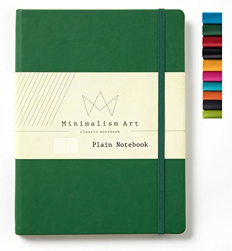 Minimalism Art, Classic Notebook Journal, A4 Size 8.3 X 11.4 inches, Plain Blank Page, 192 Pages, Hard Cover, Fine PU Leather, Inner Pocket, Quality Paper-100gsm, Designed in San Francisco (Green) ()