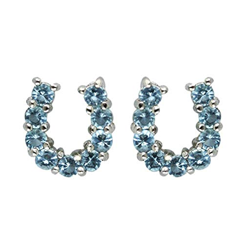 925 Solid Sterling Silver Cubic Zirconia Stud Horseshoe Earrings - Multi Color, Clear or Aqua Jewelry -