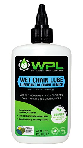 Wet Chain Lube, Bicycle Wet Conditions Lubricant, Biodegradable Bio-Based and Non-Toxic Formula for Road and Mountain Bikes with Emulsifite Technology