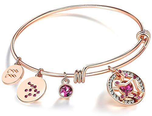 - Leafael Superstar Aquarius Zodiac Expandable Bangle Bracelet Made with Swarovski Crystals Horoscope Constellation Janurary Feburary Birthstone Jewelry, Rose Gold Plated, 7