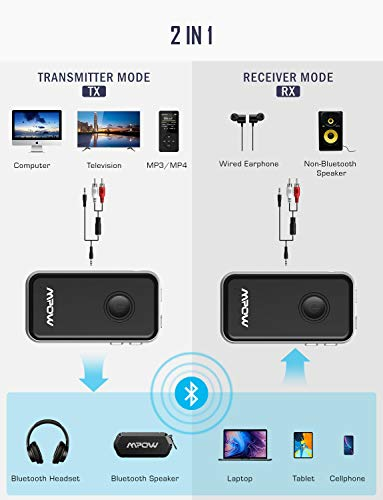 Mpow BH045 Bluetooth Receiver and Transmitter Upgraded with aptx and aptX-LL, Bluetooth Car Adapter w/Built-in Mic for Hands-Free Call, Bluetooth Transmitter for TV to Pair with 2 Bluetooth Headphones by Mpow (Image #1)