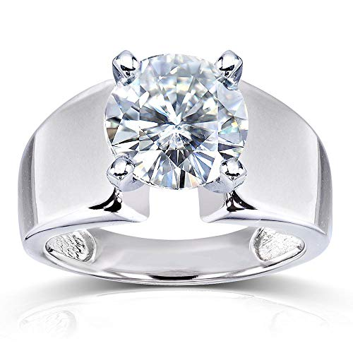 Round FG Moissanite Extra Wide Solitaire Engagement Ring 3 Carat 14k White Gold 10