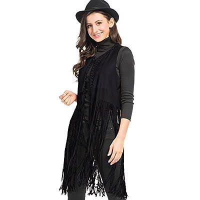 PERSUNWomen'sFringeVestFauxSuedeOpenFrontSleevelessVestCardigan 70S Hippie Clothes at  Women's Coats Shop