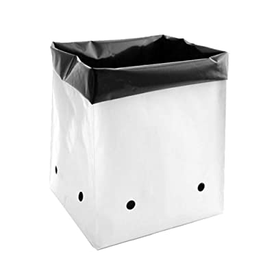Hydro Crunch D94002115-25PC 5 Gal. B&W PE Grow Bag (25-Pack), Black/White : Garden & Outdoor