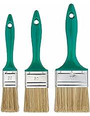 Color Expert 82650350 Platta Penslar med Plasthandtag, Grön/Silver/Brun, 30/50/70 mm, 3 Delar