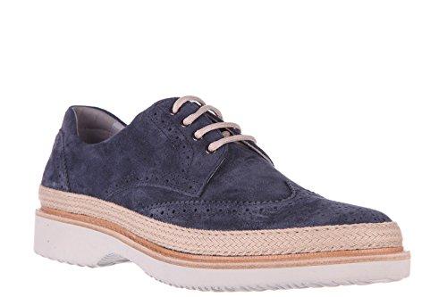 Hogan Clásico Zapatos de Cordones EN Ante Hombres Nuevo h217 Route Derby Blu