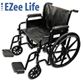 "EZee Life Bariatric Heavy Duty Folding Wheelchair, Removable Arms and Footrest - 24"" Seat Width"
