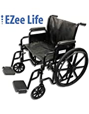 """EZee Life Bariatric Heavy Duty Folding Wheelchair, Removable Arms and Footrest - 24"""" Seat Width"""