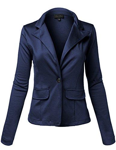 Comfortable+Soft+Faux+Pocket+Single+Button+Knit+Blazers