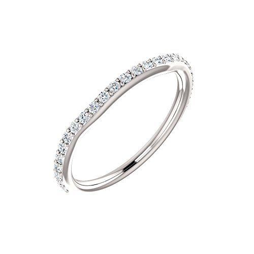 Bonyak Jewelry 14k White Gold 1/4 CTW Diamond Band for 4x2mm Straight Baguette Ring - Size (Straight Baguette Diamond Band)