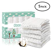 Baby Muslin Washcloths(12x12 inches,5 Pack)-100% Premium Organic Cotton- Chemical Free Baby Wipes- Soft Newborn Baby Face Towel for Sensitive Skin- Baby Registry as Shower Gift.