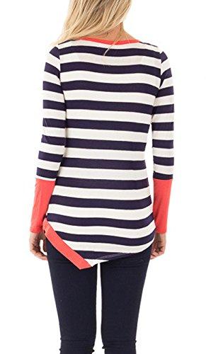 Shirt A Maglie Donna Tubino Manica T Lunga Eleganti Fashion Manica con Particolari Collo Vintage Basic Saoye Lunga Arancia Maglietta A Spacco Rotondo Strisce Giuntura Bottoni Lunga wfA1xq