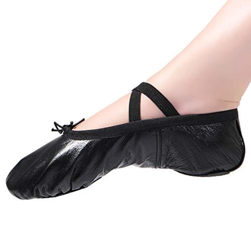 Ballettschläppchen Ballett Tanzschuhe für Damen Mädchen Kinder Gr.22-44 T-schwarz