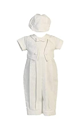 c5ff03e3d Boy Poly Cotton Long Romper with Sewn-on Vest for Christening with Matching  Hat