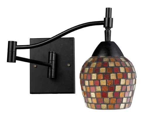 Elk 10151/1DR-MLT Celina 1-Light Swing arm Sconce In Dark Rust with Mountain Glass (Mlt Vanity Vanity Light)