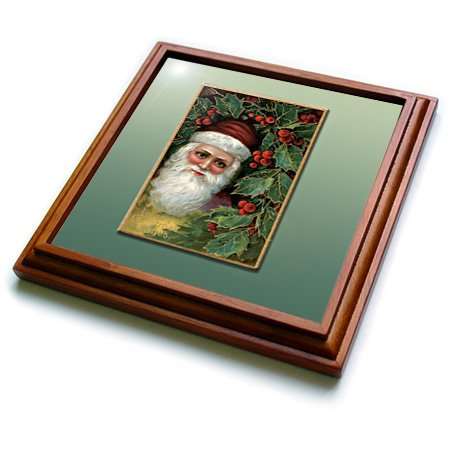 (3dRose trv_153546_1 Victorian Santa Claus with Holly Leaves and Berries Vintage Card Trivet with Ceramic Tile, 8 by 8