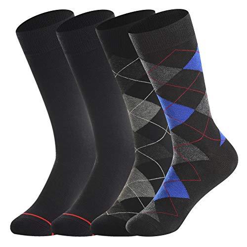 Men's Merino Wool Dress Socks by Bonangel,Summer Casual Wool Socks,Lightweight,Breathable,Sweat-wicking,Black & Argyle