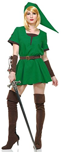 Elf Warrior Princess Costume (Elf Warrior Princess Costume Green (Adult S (5-7)))