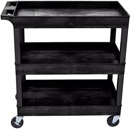 Luxor 32 W x 18 D Mobile 3 Shelf Utility Storage Tub Cart – Black
