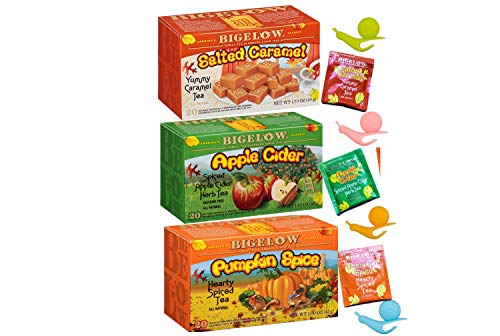 Variety Gift Pack |1 Box Pumpkin Spice Tea, 1 Box Apple Cider Tea and 1 Box Salted Caramel flavors | 4 Snail Tea Bag Holders. ()