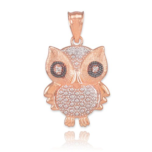 Fine 14k Two-Tone Rose Gold Diamond Owl Charm Pendant
