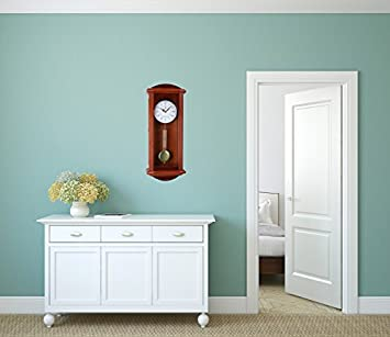 Pendulum Wall Clock, Silent Decorative Wood Clock with Swinging Pendulum, Battery Operated, Large Red Wooden Design, for Living Room, Kitchen, Office Home D cor, 26.75 x 11.5 inches