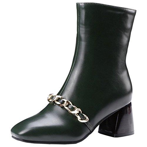 COOLCEPT Damen Mode Zipper Stiefel Dark Green