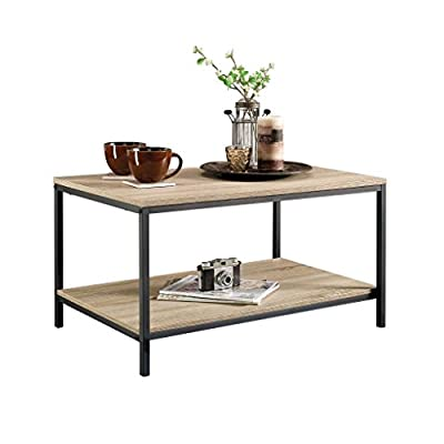 Sauder North Avenue Coffee Table, Charter Oak finish - Open shelving for storage and display. Finished on all sides for versatile placement. Durable, Black metal frame. - living-room-furniture, living-room, coffee-tables - 41wbXmb6A4L. SS400  -