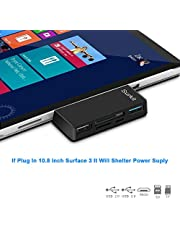 Surface Pro Hub Adapter/Card Reader, High Speed USB 3.0 Transport and USB 2.0 for Mouse or Keyboard with SD(HC) Card Slot and TF Card Reader for Microsoft Surface Pro 3/4