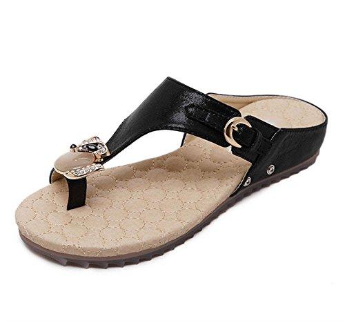 RuiOffene Sandalen Frauen Strass Flip flachem Boden rutschfeste Schuhe Gr??e Schuhe wilden Strand black