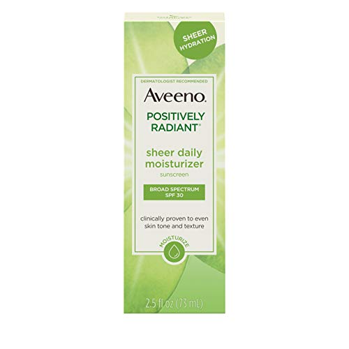 Aveeno Positively Radiant Sheer Daily Moisturizing Lotion for Dry Skin with Total Soy Complex and SPF 30 Sunscreen, Oil-Free and Non-Comedogenic, 2.5 fl. oz ()