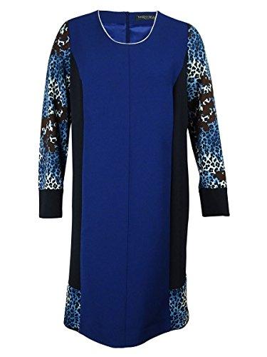 marina-rinaldi-womens-animal-print-insert-dress-16-navy-blue