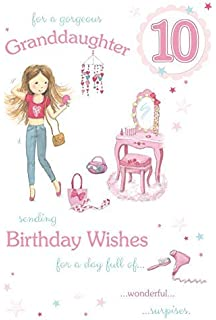 Happy Birthday Granddaughter Age 10 Large Luxury 10th Card