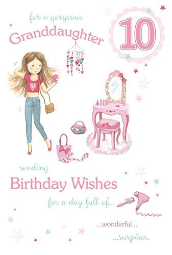 Happy Birthday Granddaughter Age 10 Large Luxury 10th Card Amazoncouk Kitchen Home