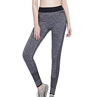 62e2ff0f8c1b7c Leoie Women Yoga Pants Running Fitness Leggings for Women Plus Size Workout  Leggings Exercise Pants Slim Body Fast Dry Casual Leggings Gray XL   Amazon.in  ...
