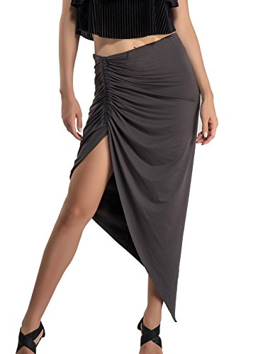 DISBEST Womens High-Low Cut Out Asymmetric Stretchy Pencil Pack Hip Long Midi Bodycon Skirt