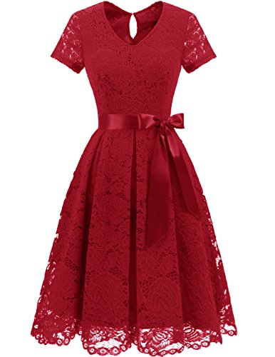 DRESSTELLS Women's Elegant Bridesmaid Dress Floral Lace Party Swing Dresses with Short Sleeves DarkRed 3XL]()