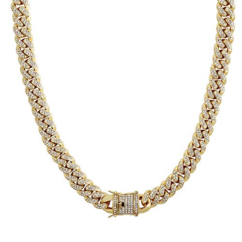 QueenDream Cuban Gold Chain Unisex Women and Mens Necklace Hip Hop Fashion Jewelry Accessory Link with Crystal Rhinestones