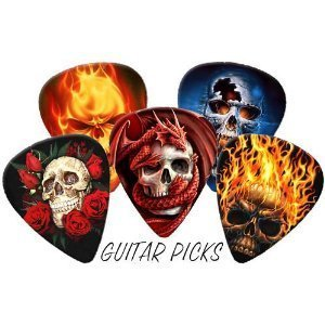 Skulls Full Colour Premium Guitar Picks x 5 (Medium 0.71mm) Printed Guitar Picks