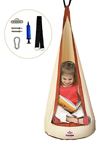 Premium Swing Hammock Pod For Kids By Homable – Adjustable & Comfortable - Full Package With Inflatable Pillow, Pump, Hooks & Screws For Installation, For Indoor/Outdoor Use, Upto 176 pounds! (Beige) (Furniture Hammock)