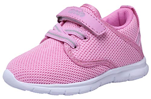COODO Toddler Kid's Sneakers Boys Girls Cute Casual Running Shoes (7 Toddler,Pink/White)