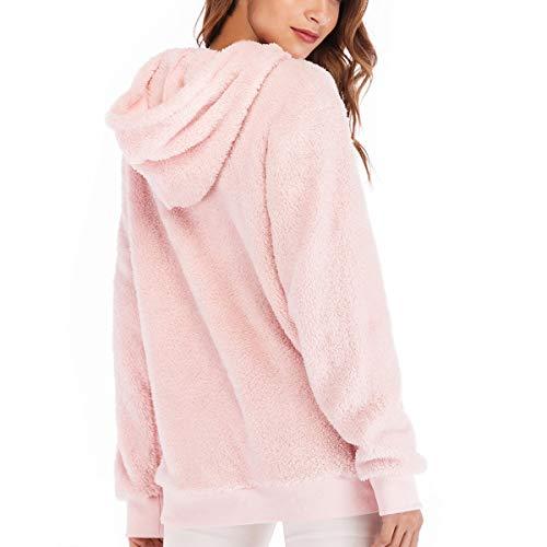 Rcdxing Vestiti A Outwear Lunga Lunghe In Pink Caldi Maniche Manica Pile Pullover UUBrzqwS