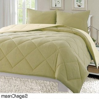 2 Piece Twin/ Twin XL, Gorgeous Classic Solid Color Pattern Comforter Set, Traditional Casual Mid-Century Baffle Box Design, Stylish Diamond Themed, Reversible Bedding, Adorable Sage, Beige Color ()