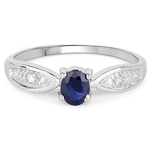 Rhodium-plated Sterling Silver 3-stone Genuine Sapphire Ring