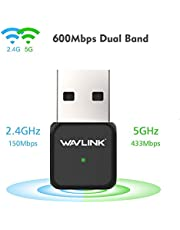 WAVLINK AC600 USB WiFi Adapter, Dual Band Wireless Network Adapter forPC/Desktop/Tablet/Laptop, 802.11ac Wifi Dongle Support Windows XP/Vista/7/8/8.1/10 and MAC OS