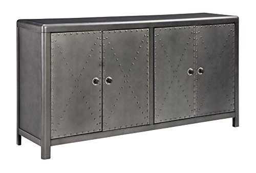 Ashley Furniture Signature Design - Rock Ridge 4-Door Accent Cabinet - Antique Gunmetal Finish - Black Metal Door Pulls - Nailhead Trim