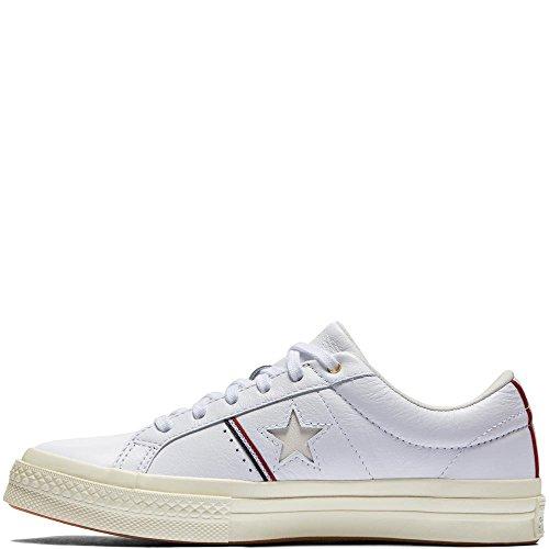 Forme mail Remise One Converse Blanc Aigrette En Star Adultes Cuir Chaussures blanc Lifestyle Ox Rouge Pour De 102 Eqww4pInZ